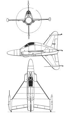 Plan 3 vues du Convair XFY-1 Pogo