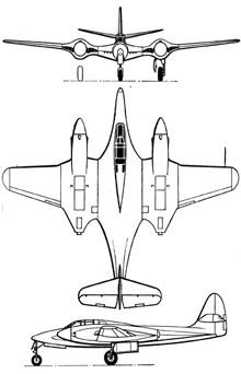 Plan 3 vues du McDonnell XP-67 Bat