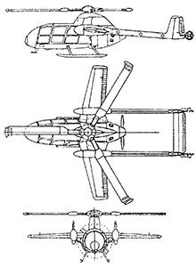 Plan 3 vues du McDonnell XV-1