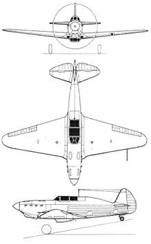 Plan 3 vues du Yakovlev Yak-1/Yak-7