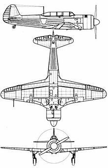 Plan 3 vues du Yakovlev Yak-11  'Moose'