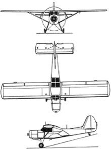 Plan 3 vues du Yakovlev Yak-12 Creek