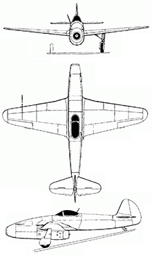 Plan 3 vues du Yakovlev Yak-15 'Feather'