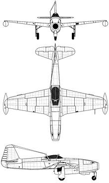Plan 3 vues du Yakovlev Yak-17  'Feather'