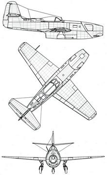 Plan 3 vues du Yakovlev Yak-23 'Flora'