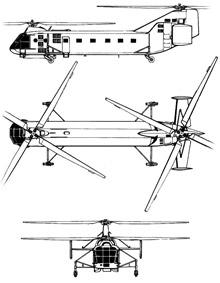 Plan 3 vues du Yakovlev Yak-24 'Horse'