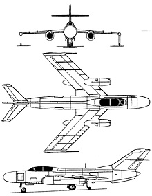 Plan 3 vues du Yakovlev Yak-25  'Flashlight'