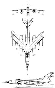 Plan 3 vues du Yakovlev Yak-28  'Brewer'