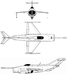 Plan 3 vues du Yakovlev Yak-36 'Freehand'