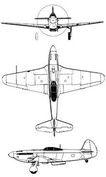 Plan 3 vues du Yakovlev Yak-9 'Frank'