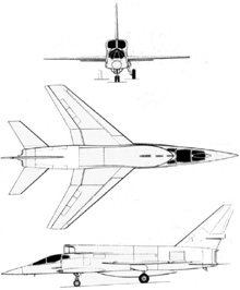 Plan 3 vues du North American YF-107 Ultra Sabre