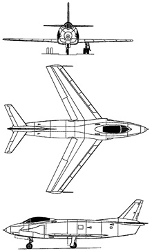 Plan 3 vues du North American YF-93