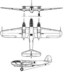 Plan 3 vues du Bell YFM-1 Airacuda