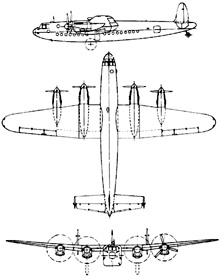 Plan 3 vues du Avro  York
