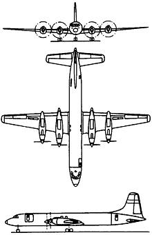 Plan 3 vues du Canadair CL-44/CC-106 Yukon