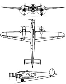 Plan 3 vues du CRDA - CANT Z.1007 Alcione