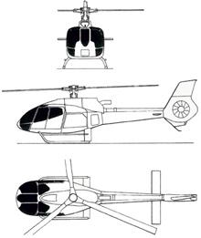 Plan 3 vues du Eurocopter EC-130