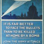 """Affiche propagande et de recrutement """"C'est mieux de faire face aux balles que d'être tué chez soi par une bombe"""