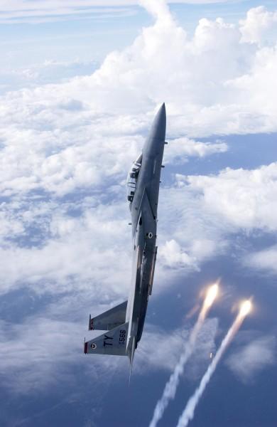 leurre thermique tiré par un F-15