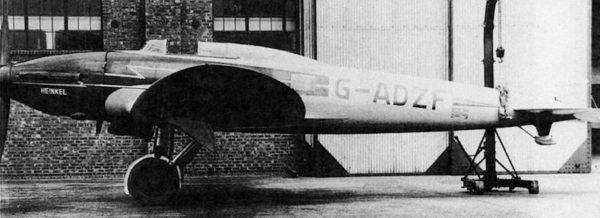 Le seul cliché connu du He-70 d'essais en vol en Allemagne.
