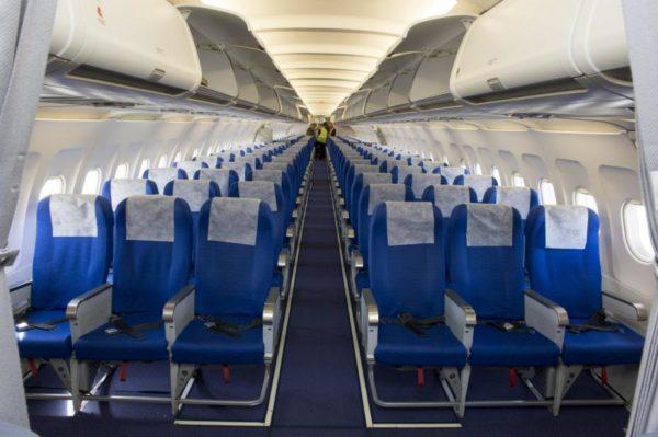 Vue intérieure de la cabine de l'Airbus A321 de la Composante Air.