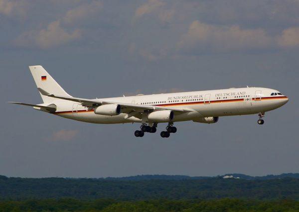 L'Airbus A340 officiel utilisé par la chancelière allemande.
