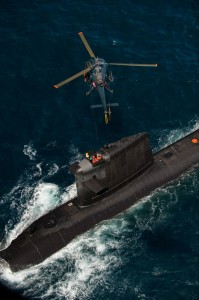 L'Alouette III en stationnaire au-dessus du Rubis.