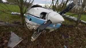 Le Cessna F-GAEE, juste après l'accident.
