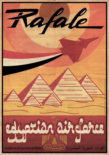 Une affiche personnelle et rétro pour commémorer l'arrivée du Rafale en Egypte