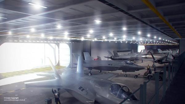 Des F-35B dans le hangar principal du HMS-Queen Elizabeth.