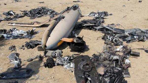 Les restes du drone Elbit Hermes 450 que l'Iran aurait abattu ce 24 août 2014.