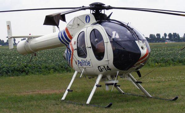 MD-520 de la Police Belge. Notez le système NOTAR en lieu et place du rotor anticouple.