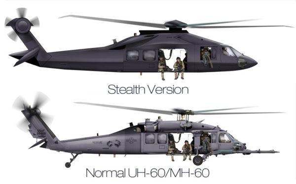 Cette infographie permet de voir un Blackhawk furtif tel qu'il est supposé exister et un Blackhawk classique. L'échelle est respectée.